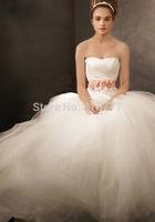 Elengant Stylish A-Line Strapless Flowered Waistline Court Train  Tulle Bridal Dresses Wedding Dresses