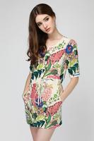 2014 British style summer style beautiful printing waist with drawstring slim slim temperament dress