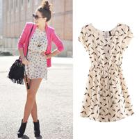 HOT SALE Vestidos New Fashion Animal Bird Print Vintage Mini Dress Women Spring Summer Plus Size S-XXXL W4390