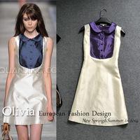 The spring and summer of 2014 women's new bright silk minimalist design Catwalk Fashion waist dress