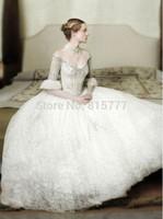 Innovative Design Off the Shoulder Half Sleeves Long  Lace Appliques  Ballgown Wedding Dresses