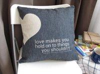 "PX1008 Black Heart Sofas & Couches& Chairs Decor Throw Pillow Case Cushion Cover Square 18"" 45cm Cotton Linen"