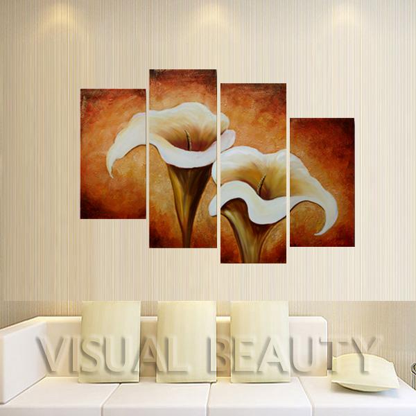 2014 Recém- moderna da parede da lona Artes Pintura a óleo abstrata da flor de trombeta decoração da parede ( Sem moldura )(China (Mainland))