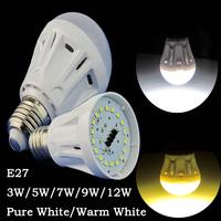 6 Pcs/lot E27 screw 3W/5W/7W/9W/12W Pure White/Warm White Energy Saving LED Light Lamp Bulb Plastic Shell Bulb