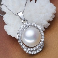 """100% natrual freshwater pearl pendant, 925 sterling silver necklace, wedding gift, 40cm(16"""") or 45cm(18"""")"""