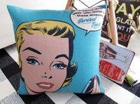 "PX1010 Blue Beautiful Lady Throw Pillow Case Cushion Cover Square Cotton Linen 18"" 45cm"
