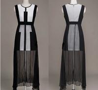 New women's major suit of black and white color matching dress slim sleeveless Chiffon Dress