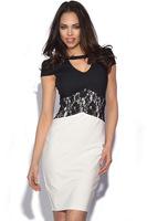 Women Casual Dress Fashion Lace Embroidery V-Neck Short Sleeve Pencil Dress Back Zipper BlackWhite Splicing Office Dress,Y038