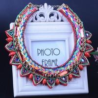 HOT Selling Trendy Geometric Shape Women Girl Multicolor Knitting Rope Bib Statement Choker Necklace