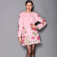 Hot Sale 2014 Women's Autumn Winter big flower embroidery woolen coat ,Plus SIze women long coat S-4XL