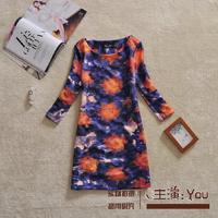 Free shipping 2014 autumn plus size dress fashion tie-dyeing abstract elegant slim print one-piece dress