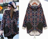 GOMA1258 Women new fall winter berber fleece fur hoody wool warm thick plaid trench coat jackets outerwear overcoat cloak parka