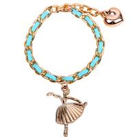 dancer girl charm bracelet golden charm bracelet gift for women
