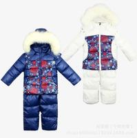 2014 New Children's Winter Clothing Set Casual Windproof Color Print Warm Coats Fur Jackets+Bib Pants kids sports suit 2 Colors