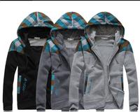2014 New Autumn Men's Hoodies Retro Plaid Splice Design Sweatshirts Casual Sports Male Hooded Jacket cardigan sweatshirt