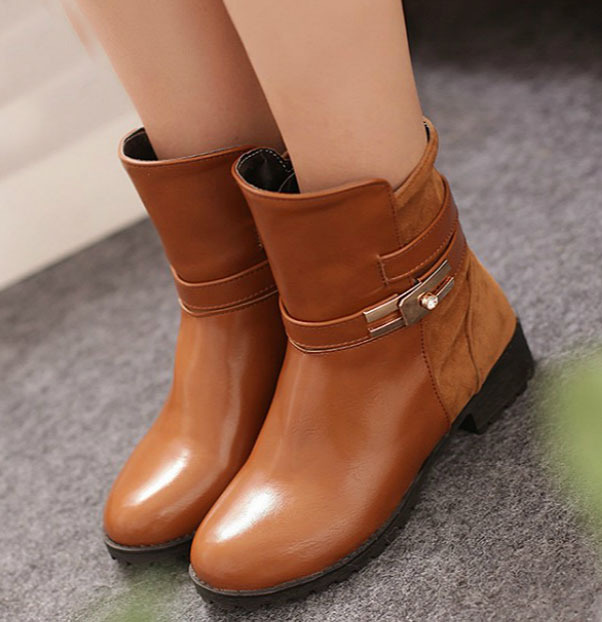 Big Size Winter Autumn Womens Western Boots Faux Suede Cleated Spike For Women Flats Ankle Boots Casual Ladies Shoes Wholesale(China (Mainland))