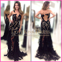 New See Through Evening Dresses Scoop Neck Flowered Black Lace Mermaid Long Sexy Prom Dress 2015