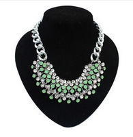 2014 New Fashion Big Chunky  Rhinoestone Tassel Statement Necklace Exaggerated Charms Drop Necklace For Women