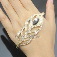 Vinatge Leaf Feather Stone Crystal Hand Palm Stretch Zuni Bracelet Bangle Cuff Ring Jewelry Free Shipping