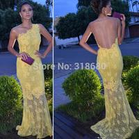 Hot Sale One Shoulder Yellow Lace Sheer Mermaid Prom Dress vestidos de festa vestido longo Gala Online Party Dress Long 2015