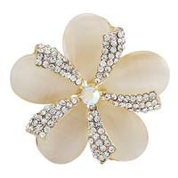 Fashion Luxury Opal Flower Wedding Brooches For Women Men Gold Rhinestone Beautiful Flower Brooches Pin
