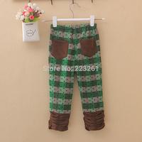 2014 Hot sale Spring Autumn Children's pants Causal girls boys pants plaid elastic high waist trousers