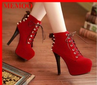 MEMOO  high heel nubuckle leather fashion winter snow boot women sexy ankle half boots platform shoes big size 43 AB544
