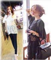 2014 autumn Women shirt Openwork crochet lace stitching tops bottoming lantern sleeve chiffon lace blouse waist lace shirt