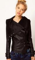 Good quality women Leather jacket 2014 autumn Slim leather coat PU motorcycle jacket ladies black leather jacket  brand clothing