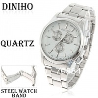 Hot!Free shiping!Free shiping!Diniho Fashion Quartz Analog Watch with Waterproof White Round Shaped Steel Band for Male (Silver)