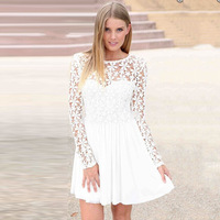 2014 New Sexy Women Casual Autumn Dresses Hollow out  Long Sleeve Flower Lace Dress Backless Chiffon Vestidos Party Dresses