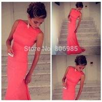 2014 hot sale Women's Bodycon Bandage long Halter Dress sexy Midi Evening Party Prom Club Dresses