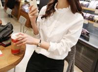 2014 fashion lace collar long-sleeved white shirt joker shirt women shirts Blouses &shirt