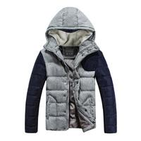 GILE Korean men's 2014 winter new men's cotton knit sleeve hooded cotton jacket sherpa tide