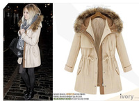 autumn and winter women overcoat fashion casual drawstring slim thickening female outerwear