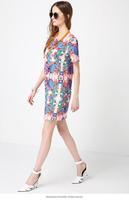 Summer Dress 2014 Desigual O-neck Women Dress Pattern Print Knee-length Vestidos Casual Dresses Office Dress Brand New 3048