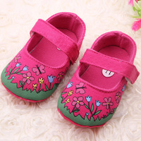 2014 For BabyFloral Cute Baby Shoes Toddler  Girl Velcro Soft Sole Crib Shoes Prewalker Free&Drop Shipping