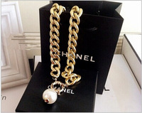 2014 Fashion two color chain simple pearl necklace !Free shipping!