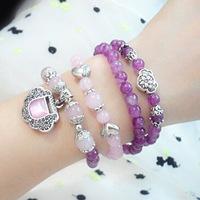 Fashion multi layer beads bracelet natural amethyst powder crystal bracelet with longevity lock vintage jewelry wholesale 0261