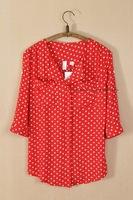 women chiffon blouse fashion polka dot printing turn down collar casual blouse wholesale women clothing