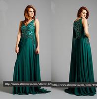 Gorgeous emerald green A-line Sparkly Beaded Chiffon Evening Dresses vestido de festa  vestido de festa longo2014 Free Shipping