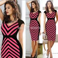 2014 New Fashion Women Clothing Casual Dress Stripped Patten Deep V Neck High Waist Summer Mini Dress