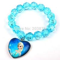 2014 HOT frozen Jewelry Elsa Girls Anna Princess colors beads Children's gift Pendant bracelet