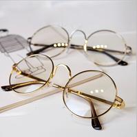 Retro big round gold glasses frame men 2014 fashion glasses frame unisex frames eye glasses women oculos de grau .y530