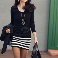 Casual Dress,Fashion Bodycon Dress,Ladylike Scoop Neck Stripes Skinny Long Sleeves Elegant Cotton Blend Dress For Women