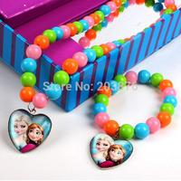 2014 frozen Colorful Jewelry Sets Elsa Girls Anna Princess colors beads Children's Necklace bracelet sets