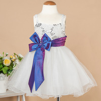 New Arrival 2014 Children Sequined Flowers Girl Party Dress Embroidered Performances Dancing Dress  Girls Clothes Kids Bow Dress