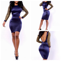 Casual Dress Ladies' Long Sleeve Patchwork Bandage Dress Women's Party Evening Elegant Bodycon Mini Backless Sexy Club Dress