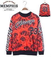 2014 fashion 23 sweatshirts red flower 3D brand women and men wholesale hoodies women casual sport  suit   designer hoodies