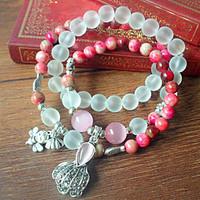Natural matte crystal beads bracelet peach stone bracelet cabbage bee pendant  vintage women bracelet jewelry wholesale 0262
